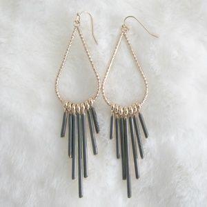 """Arcadia"" Hammered Gold Drop Dangle Earrings"